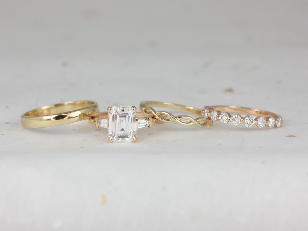 Set of four Rosados Box wedding rings.