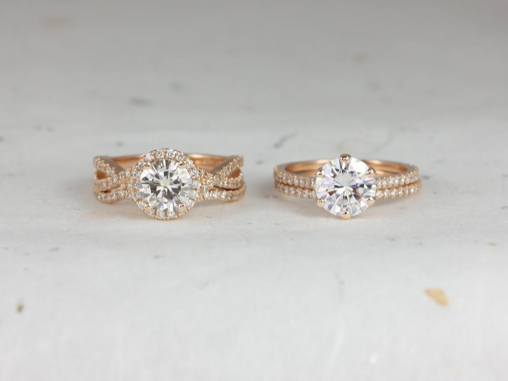 Rose gold wedding band set.