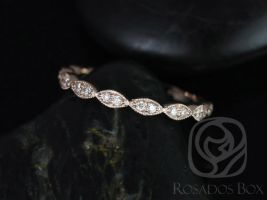 Rosados Box 14kt Matching Band to Christie/Katya/Sunny/Samantha WITH Milgrain Diamond Leaves ALMOST Eternity Band