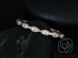 Rosados Box 14kt Matching Band to Christie/Katya/Sunny/Samantha WITHOUT Milgrain Diamond Leaves HALFWAY Eternity Band