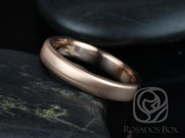 Rosados Box Dax 4mm 14kt Rose Gold Rounded Pipe Matte or High Finish Band (Classic Gold Collection)