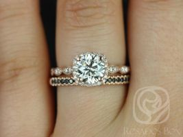 Rosados Box Christie 7mm & Kierra 14kt Rose Gold F1- Moissanite Diamond Halo WITH Milgrain Wedding Set