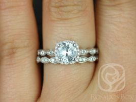 Rosados Box Christie 6mm White Sapphire and Diamonds 14kt White Gold Cushion Halo WITH Milgrain Classic Wedding Set