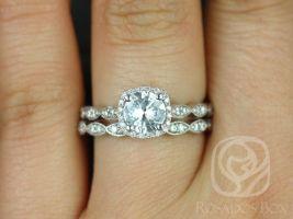 Rosados Box Christie 6mm White Sapphire and Diamonds 14kt White Gold Cushion Halo WITH Milgrain Classic Wedding Set