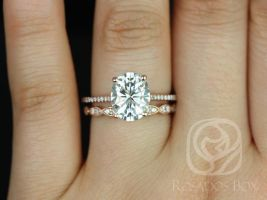 Rosados Box Blake 10x8mm & Christie WITH MILGRAIN 14kt Rose Gold Oval F1- Moissanite and Diamonds Cathedral Wedding Set