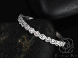 Rosados Box Petite Bubbles 14kt White Gold WITH Milgrain Diamond HALFWAY Eternity Band