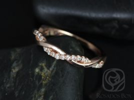 Rosados Box Dusty 14kt Rose Gold Weaving Braid Diamonds HALFWAY Eternity Band