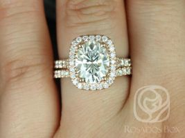 Rosados Box Avery 10x8mm 14kt Gold Oval Forever One Moissanite Diamond Split Shank Cushion Halo Wedding Set