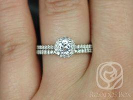 Rosados Box Amanda 5mm 14kt White Gold Round White Topaz and Diamonds Halo Classic Wedding Set