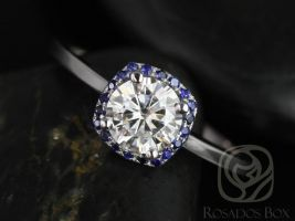 SALE Rosados Box Ready to Ship Bella 6mm 14kt White Gold FB Moissanite and Blue Sapphire Cushion Halo Engagement Ring