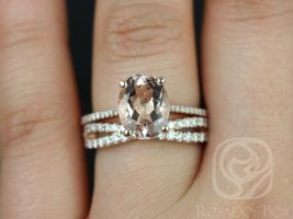 Rosados Box Blake 10x8mm & Lima 14kt Rose Gold Oval Morganite and Diamonds Cathedral Wedding Set