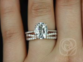 Rosados Box Blake 10x8mm & Lima 14kt Rose Gold Oval F1- Moissanite and Diamonds Cathedral Wedding Set
