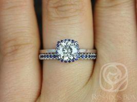 Rosados Box Bella 6mm & Kierra 14kt White Gold Round F1- Moissanite and Blue Sapphire Cushion Halo Wedding Set