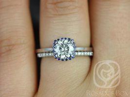 Rosados Box Bella 6mm & Barra Dia 14kt White Gold Round F1- Moissanite, Sapphire, Diamond Cushion Halo Wedding Set