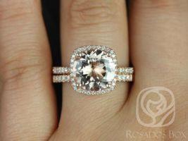 Rosados Box Barra 10mm 14kt Rose Gold Round Morganite and Diamonds Cushion Halo Classic Wedding Set