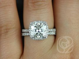 Rosados Box Randi 9mm 14kt White Gold Cushion Cut F1- Moissanite and Diamonds Halo Wedding Set