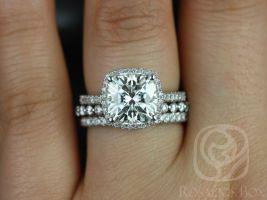 Rosados Box Randi 9mm & Petite Naomi 14kt White Gold Cushion F1- Moissanite and Diamonds Halo TRIO Wedding Set