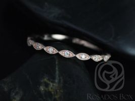 Rosados Box Ultra Petite Leah 14kt Rose Gold Vintage WITH Milgrain Diamond ALMOST Eternity Band