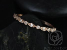 Rosados Box Ultra Petite Bead & Eye 14kt Rose Gold Vintage WITH Hand Milgrain Diamonds HALFWAY Eternity Band