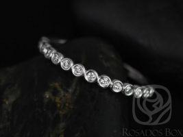 Rosados Box Petite Bubbles 14kt White Gold Bezel Round Diamonds HALFWAY Eternity Band