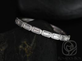 Rosados Box Rihani 14kt White Gold Thin Horizontal Baguette WITH Milgrain Diamond HALFWAY Eternity Band