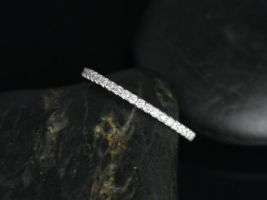 Rosados Box 14kt White Gold Matching Band to Kubian 7mm / Samina 7mm Diamonds ALMOST Eternity Band