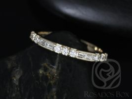 Rosados Box Gabriella 14kt Yellow Gold Round and Baguette Bar Diamond WITH Hand Milgrain HALFWAY Eternity Band