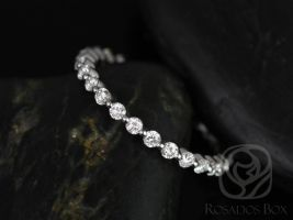 Rosados Box Petite Naomi / Petite Bubble & Breathe 14kt White Gold Diamonds ALMOST Eternity Band