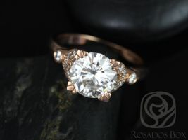 Rosados Box Antoinette 8.5mm 14kt Rose Gold Round Forever One Moissanite Diamonds Vintage Milgrain Engagement Ring