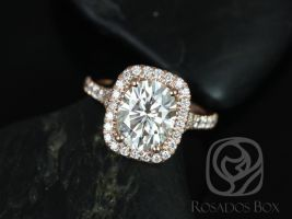 Rosados Box Avery 10x8mm 14kt Gold Oval Forever One Moissanite Diamond Split Shank Cushion Halo Engagement Ring