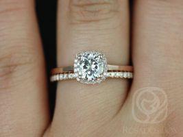 Rosados Box Bella 6mm and Dia Barra 14kt Rose Gold Round F1- Moissanite and Diamonds Cushion Halo Wedding Set