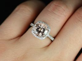 Rosados Box Barra 9mm 14kt White Gold Round Morganite and Diamonds Cushion Halo Engagement Ring