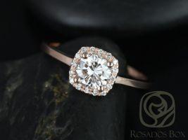 Rosados Box Bella 6mm 14kt Rose Gold Round F1- Moissanite and Diamonds Cushion Halo Engagement Ring