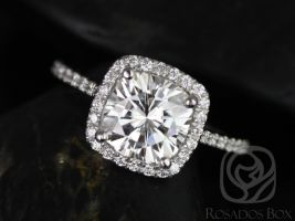 Rosados Box Catalina 7.5mm 14kt White Gold Cushion F1- Moissanite and Diamond Halo Engagement Ring
