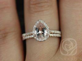 Rosados Box Tabitha 8x6mm 14kt Rose Gold Pear Morganite and Diamonds Halo Wedding Set