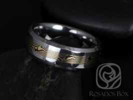 Rosados Box Kenshi 14kt Yellow Gold & Shakudo Mokume Gane Tungsten Carbide Beveled Edge Band