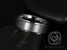 Rosados Box Ricky 8mm Tungsten Raised Edge Duo Finish Band