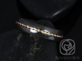 Rosados Box Darth 6mm 14kt Rose Gold & Black Zirconium Single Braided Band
