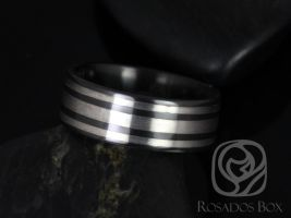 Rosados Box Hudson 8mm Black Zirconium and Sterling Silver Trio Striped Pipe Band