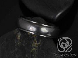 Rosados Box Pierre 7mm High Polish Half Round Raised Edge Black Zirconium Band
