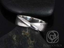 Rosados Box Basso 14kt White Gold Twisted Ribbon Band