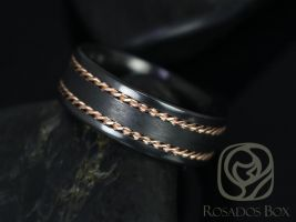 Rosados Box Kamil 8mm 14kt Rose Gold & Black Zirconium Straight Pipe Double Braided Band