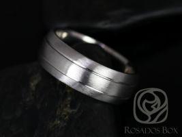 Rosados Box Daniel 8mm Cobalt Half Round Grooved Double Stripe Satin/Matte Finish Band