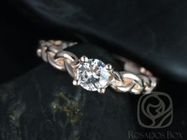 Rosados Box Prudence 5mm 14kt Rose Gold Round White Sapphire Braided Engagement Ring