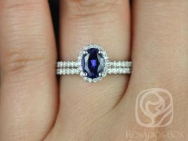 Rosados Box Federella 7x5mm 14kt White Gold Oval Blue Sapphire and Diamonds Halo Wedding Set