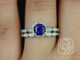 Rosados Box Christie 6mm 14kt White Gold Blue Sapphire and Diamonds Cushion Halo WITH Milgrain Wedding Set