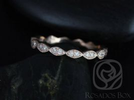 Rosados Box Ready to Ship Leah 14kt WHITE Gold Extra Low Profile Leaves Double Diamond FULL Eternity Band