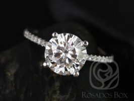 Rosados Box DIAMOND FREE Eloise 8mm 14kt White Gold Round F1- Moissanite and White Sapphires Cathedral Engagement Ring