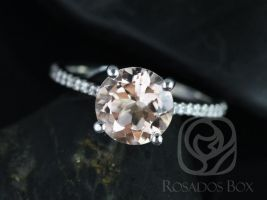 Rosados Box DIAMOND FREE Eloise 8mm 14kt White Gold Round Morganite and White Sapphire Cathedral Engagement Ring
