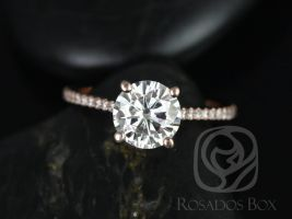 Rosados Box DIAMOND FREE Eloise 7.5mm 14kt Rose Gold Round F1- Moissanite and White Sapphires Cathedral Engagement Ring